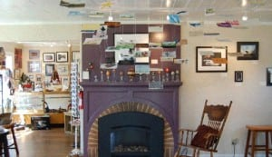 Set up to be inviting, the Six Rivers Gallery and gift shop is a perfect place to stop on a cool autumn day. Photo courtesy of Harbor Art Guild.