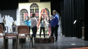 """Directer Tamara Helland (left) works with the cast of """"Annie."""""""