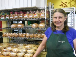 Baker Nancy Lachel displays her baked goods at the Grays Harbor Farmers Market.