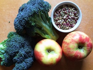 Broccoli, apples and lentils are high in fiber.