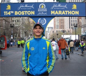 Dr. Agtarap began distance running at the age of 40 and has completed more than 20 half-marathons and 10 full marathons including the Boston Marathon (pictured here) and our own Capital City Marathon.