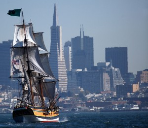 Lady Washington in San Francisco Bay. Photo by Thomas Hyde.