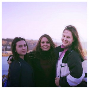 Exchange students, left to right, Mariam Ghlonti, Ilaria Fanari and Ksenyia Shulga.