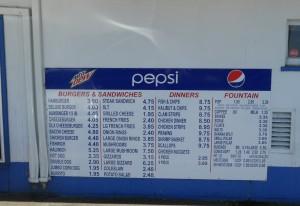 Hum-Dinger menu