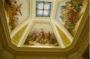 Four ceiling murals top the Grays Harbor County Courthouse rotunda.