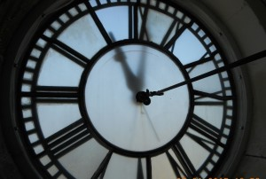The courthouse clock face is a familiar landmark.