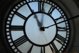 The courthouse clock face is a familiar landmark.