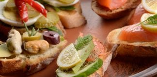 Savor Seabrook Seafood & Wine Festival Open sandwiches with salmon and mussels