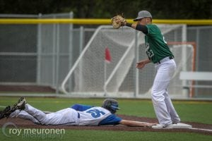 Grays Harbor College Baseball Millner Taking a Base