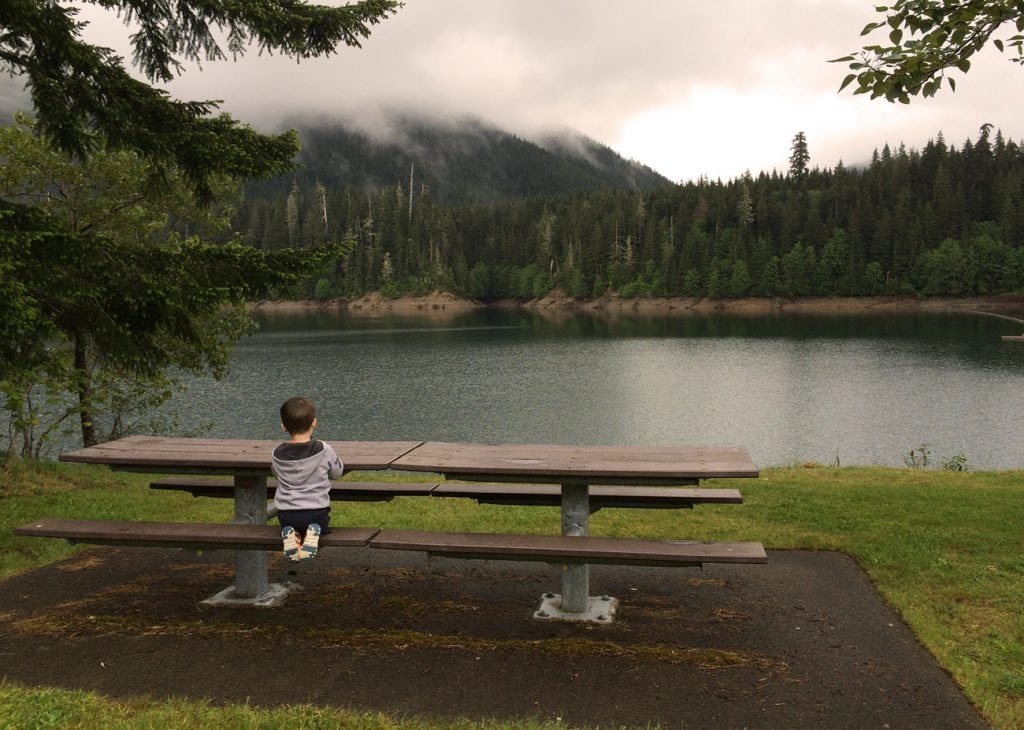 Little boy at table wynoochee lake
