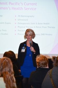 Summit Pacific Dr Tammy Moore Speaking about Womens Health Services at Ladies Night Out