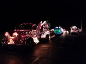Montesano Festival of Lights parade log trucks