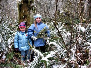 yule log celebration girls in snow