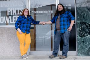 City of Aberdeen Brewing Owners Stefanie and Jon at Steam Donkey