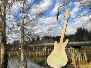 Kurt Cobain guitar at park in Aberdeen