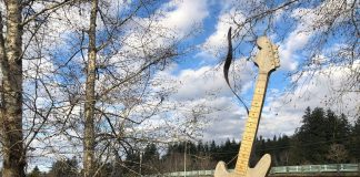 Kurt Cobain guitar at park in Aberdeen