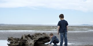 kids on bottle beach