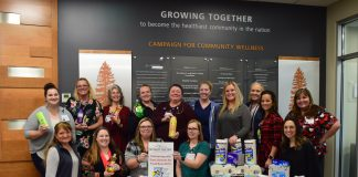 Summit Pacific's employee-led Spirit Team posing with the toiletries they donated to the Elma High Schools Food Bowl and Toiletry Drive