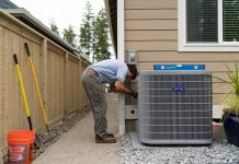 Sunset Air Carrier Heat Pump and worker