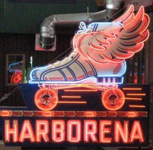 Harborena-roller-rink-grays harbor original-sign