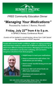 Free Community Education Dinner @ Summit Pacific Medical Center | Elma | Washington | United States