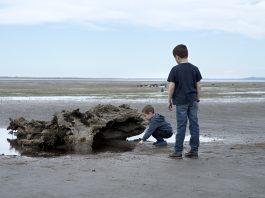 kids on bottle beach