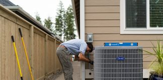 Sunset Air Carrier Heat Pump and worker