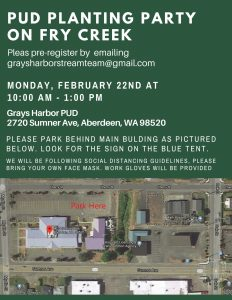 PUD Planting Party on Fry Creek @ Grays Harbor PUD